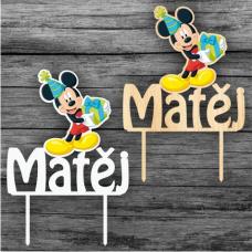 Tortový zápich Mickey Mouse s menom