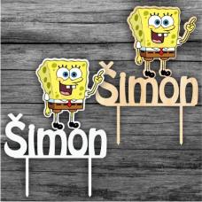 Zápich na tortu Spongebob s menom