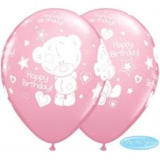 Balóny Macko Tiny Tatty BDay ružové Q 11´´ RND
