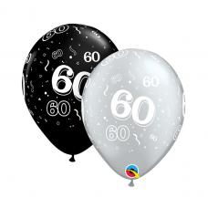 Balón číslo 60 RND Black&Silver 11´´