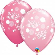 Q 11´´ RND Baby Girl Pink Dots
