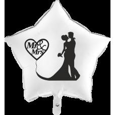 Balón Svadobný Mr & Mrs biela hviezda