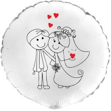 Balónek Svatební On a Ona bílý kruh